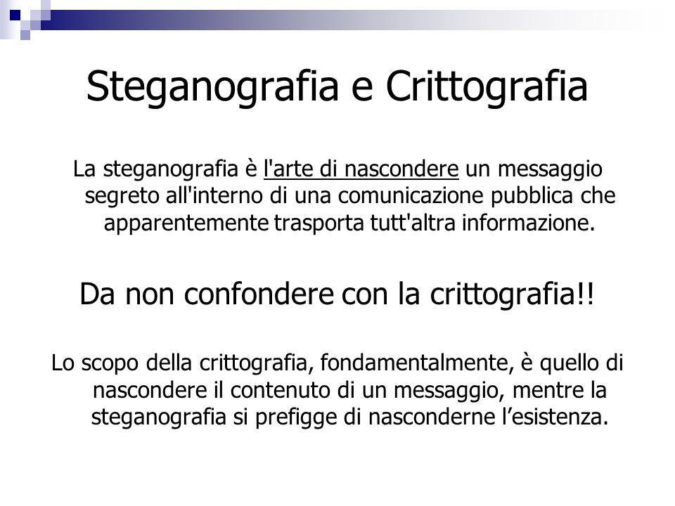 Steganografia e Crittografia La steganografia è l'arte di nascondere un messaggio segreto all'interno di una comunicazione pubblica che apparentemente