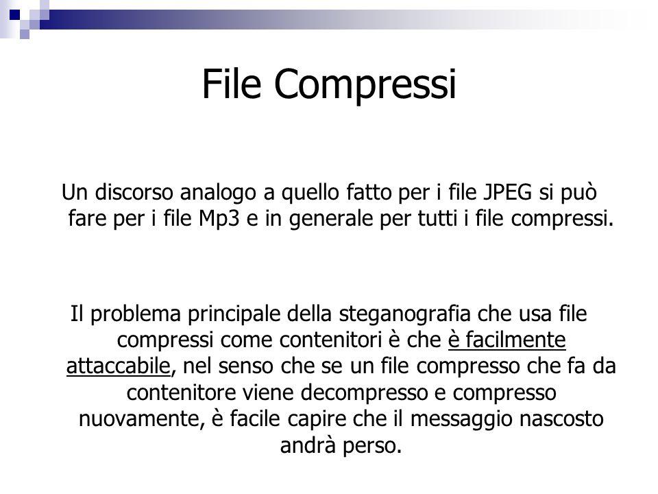 File Compressi Un discorso analogo a quello fatto per i file JPEG si può fare per i file Mp3 e in generale per tutti i file compressi. Il problema pri