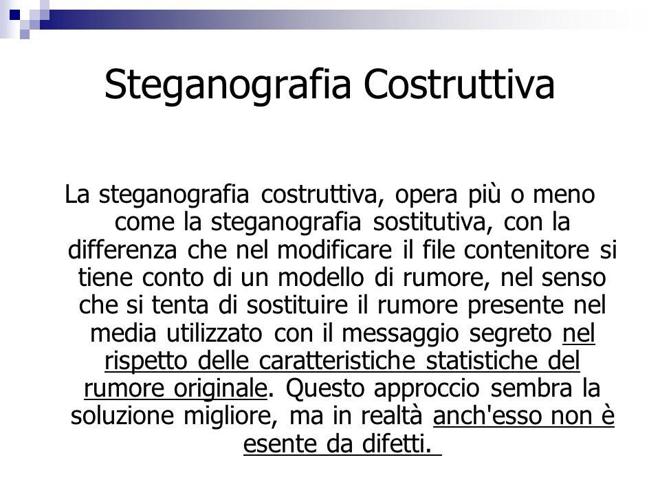 Steganografia Costruttiva La steganografia costruttiva, opera più o meno come la steganografia sostitutiva, con la differenza che nel modificare il fi