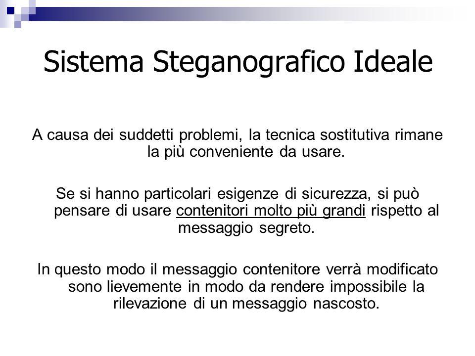 Sistema Steganografico Ideale A causa dei suddetti problemi, la tecnica sostitutiva rimane la più conveniente da usare. Se si hanno particolari esigen