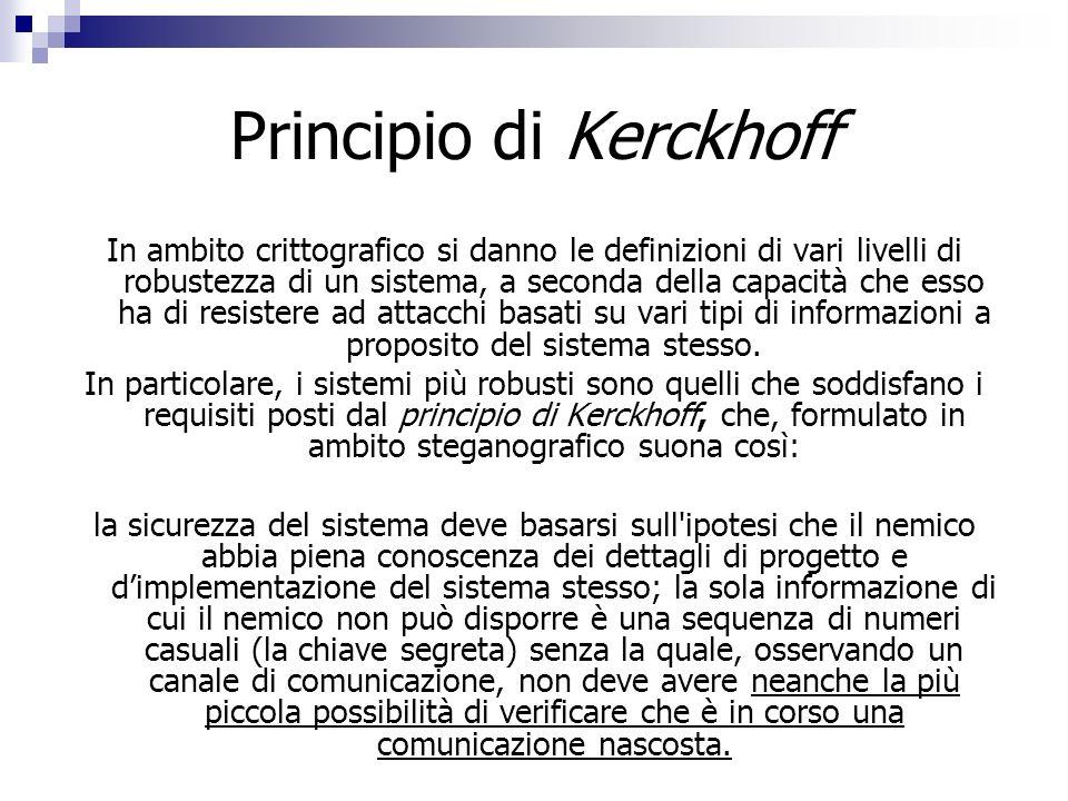 Principio di Kerckhoff In ambito crittografico si danno le definizioni di vari livelli di robustezza di un sistema, a seconda della capacità che esso