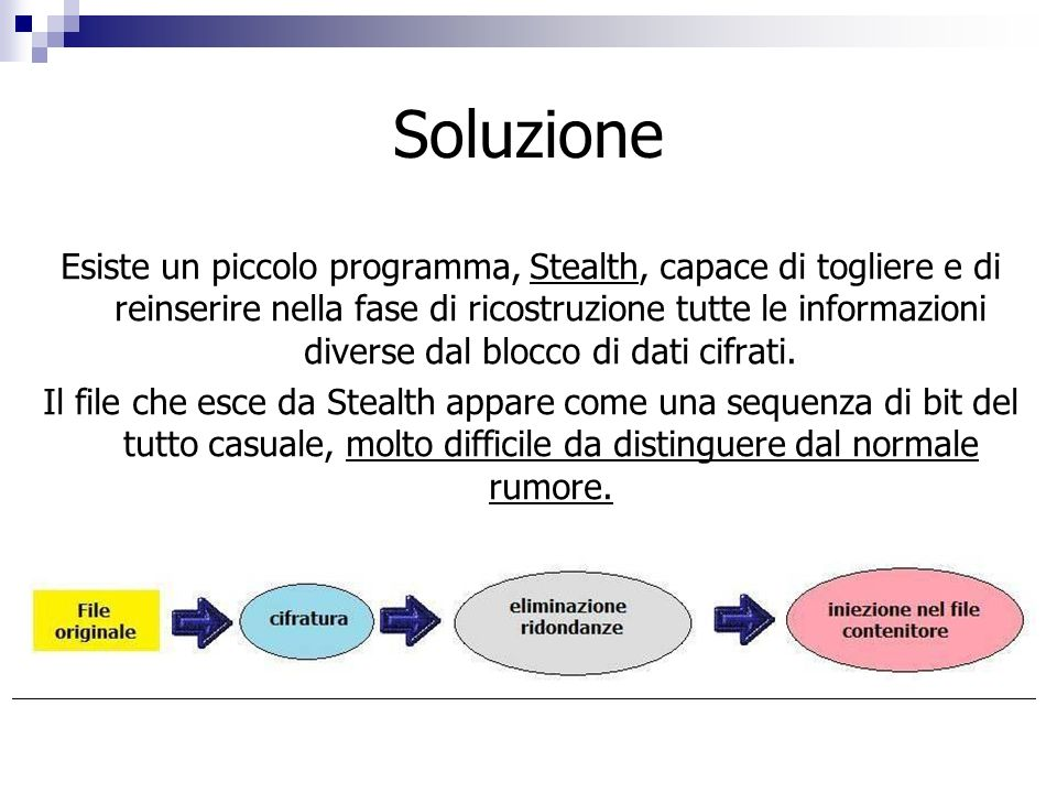 Soluzione Esiste un piccolo programma, Stealth, capace di togliere e di reinserire nella fase di ricostruzione tutte le informazioni diverse dal blocc
