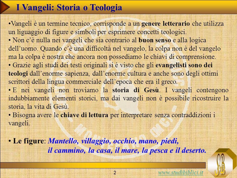 www.studibiblici.it 2 I Vangeli: Storia o Teologia Le figure: Mantello, villaggio, occhio, mano, piedi, il cammino, la casa, il mare, la pesca e il deserto.