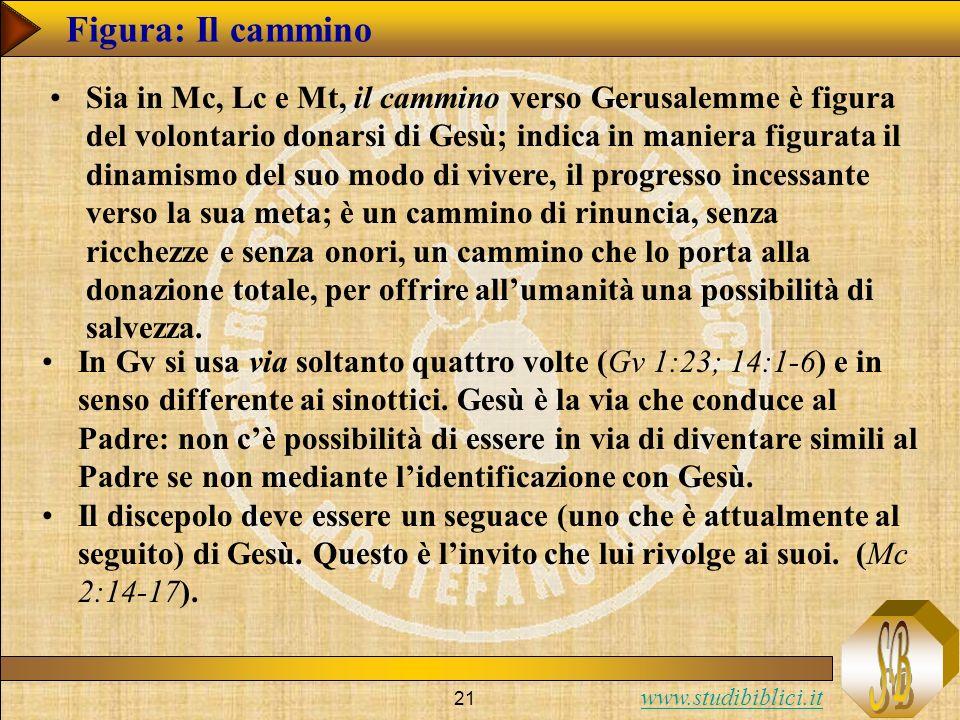 www.studibiblici.it 21 Figura: Il cammino Sia in Mc, Lc e Mt, il cammino verso Gerusalemme è figura del volontario donarsi di Gesù; indica in maniera