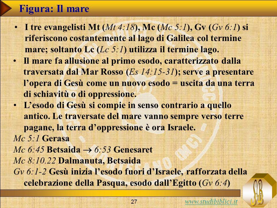 www.studibiblici.it 27 Figura: Il mare I tre evangelisti Mt (Mt 4:18), Mc (Mc 5:1), Gv (Gv 6:1) si riferiscono costantemente al lago di Galilea col termine mare; soltanto Lc (Lc 5:1) utilizza il termine lago.