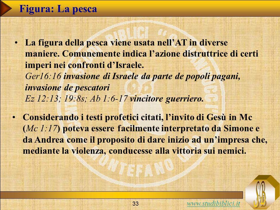 www.studibiblici.it 33 Figura: La pesca La figura della pesca viene usata nellAT in diverse maniere. Comunemente indica lazione distruttrice di certi