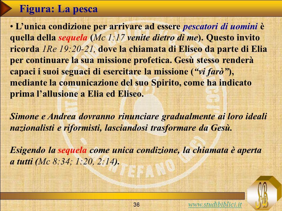 www.studibiblici.it 36 Figura: La pesca Lunica condizione per arrivare ad essere pescatori di uomini è quella della sequela (Mc 1:17 venite dietro di me).