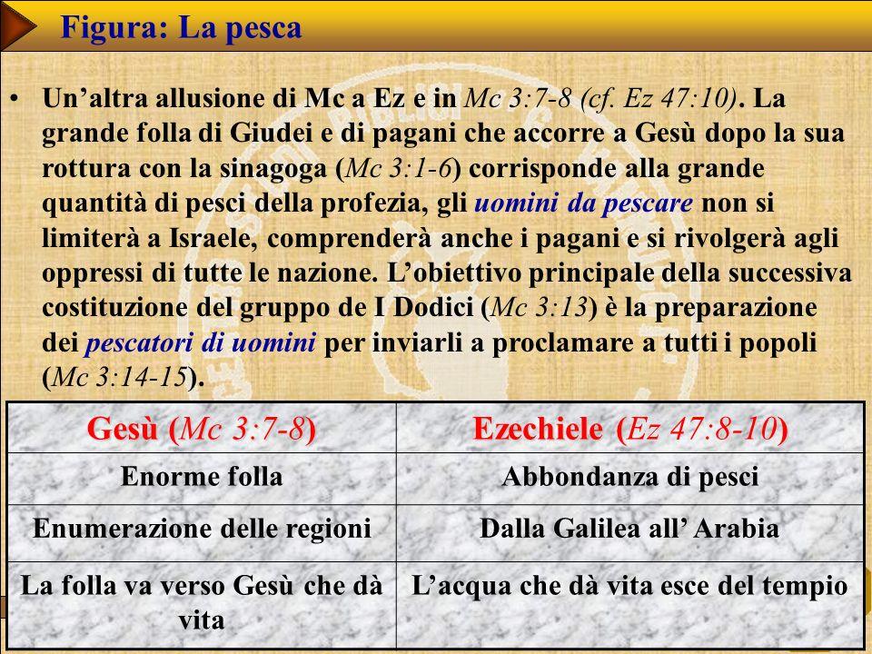 www.studibiblici.it 37 Figura: La pesca Unaltra allusione di Mc a Ez e in Mc 3:7-8 (cf. Ez 47:10). La grande folla di Giudei e di pagani che accorre a