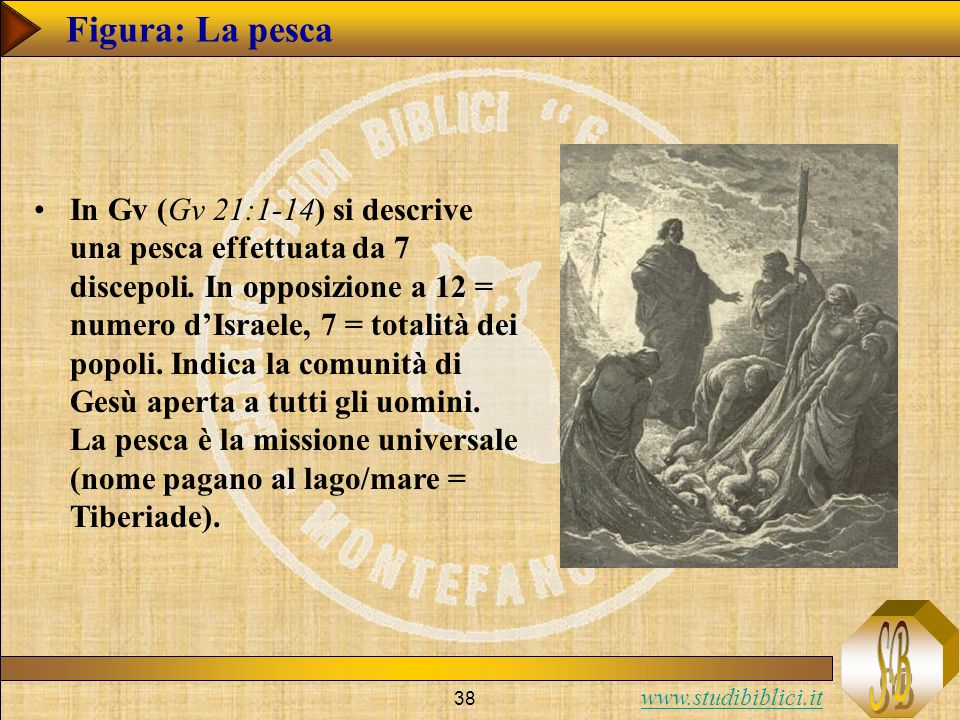 www.studibiblici.it 38 Figura: La pesca In Gv (Gv 21:1-14) si descrive una pesca effettuata da 7 discepoli. In opposizione a 12 = numero dIsraele, 7 =