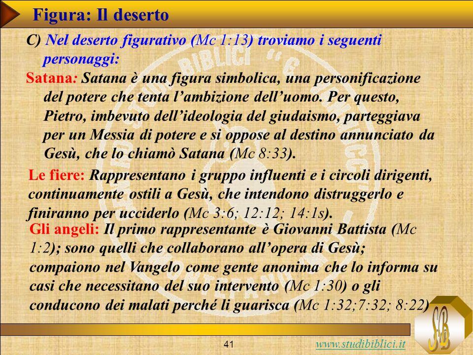 www.studibiblici.it 41 Figura: Il deserto C) Nel deserto figurativo (Mc 1:13) troviamo i seguenti personaggi: Satana: Satana è una figura simbolica, u