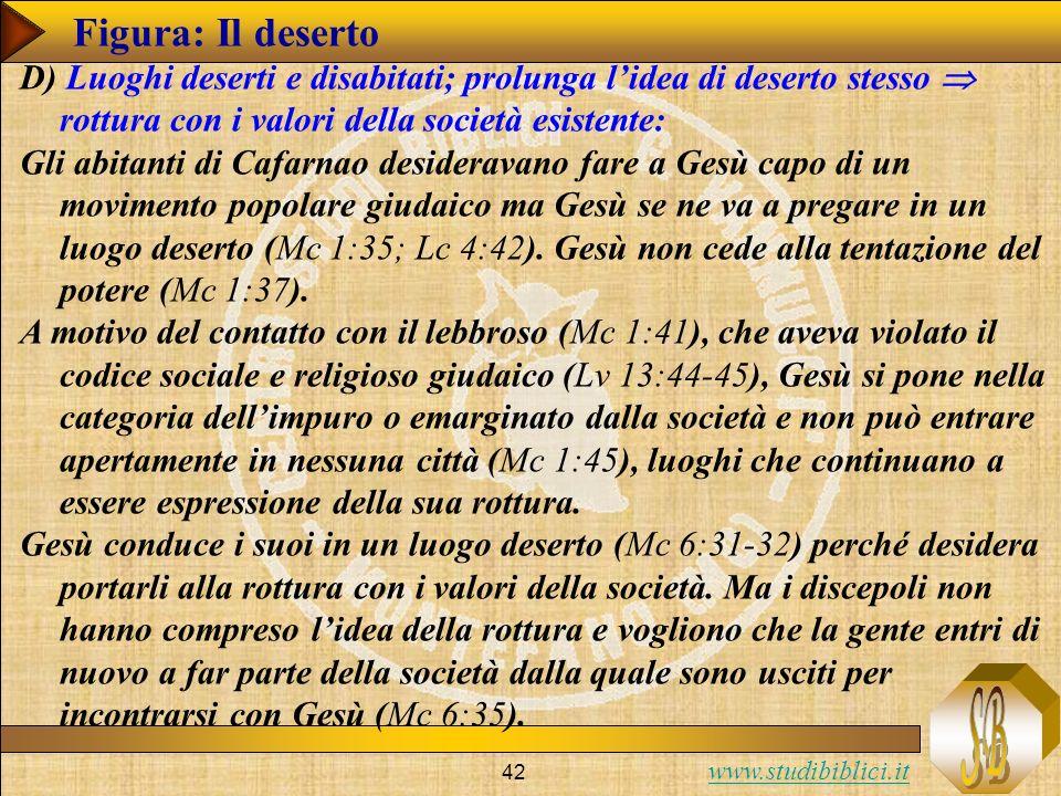 www.studibiblici.it 42 Figura: Il deserto D) Luoghi deserti e disabitati; prolunga lidea di deserto stesso rottura con i valori della società esistent