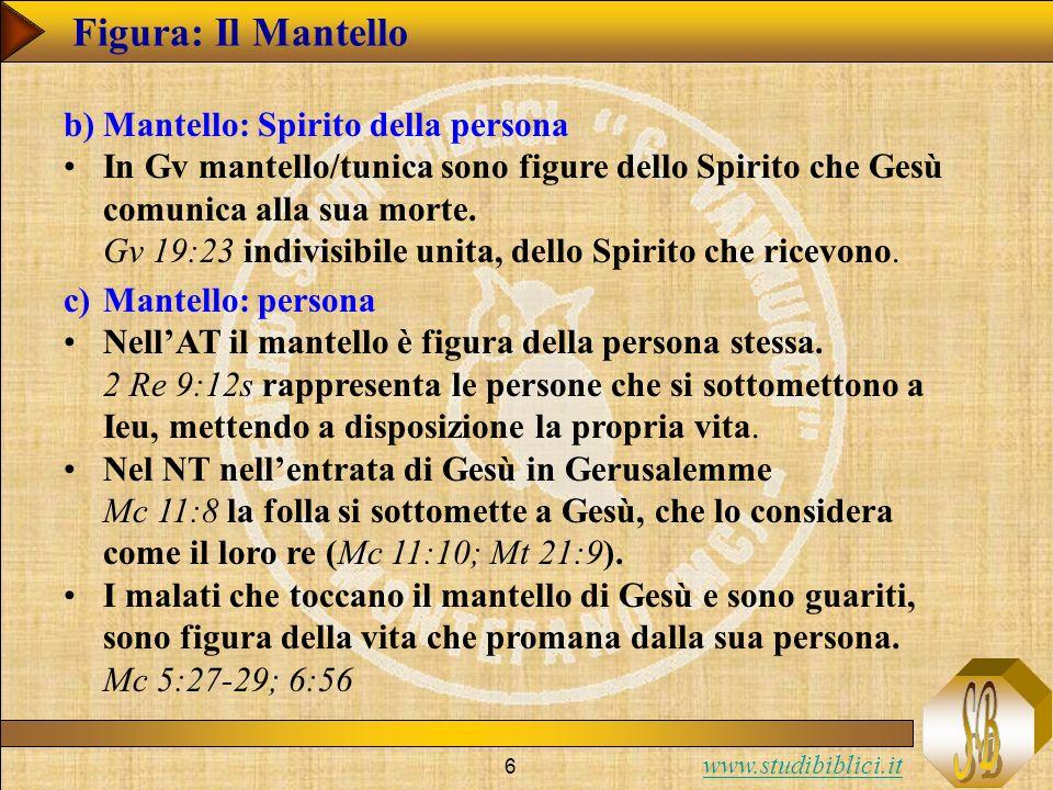www.studibiblici.it 6 Figura: Il Mantello b)Mantello: Spirito della persona In Gv mantello/tunica sono figure dello Spirito che Gesù comunica alla sua