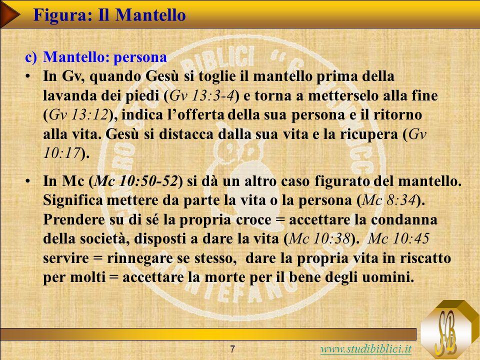 www.studibiblici.it 7 Figura: Il Mantello c)Mantello: persona In Gv, quando Gesù si toglie il mantello prima della lavanda dei piedi (Gv 13:3-4) e tor