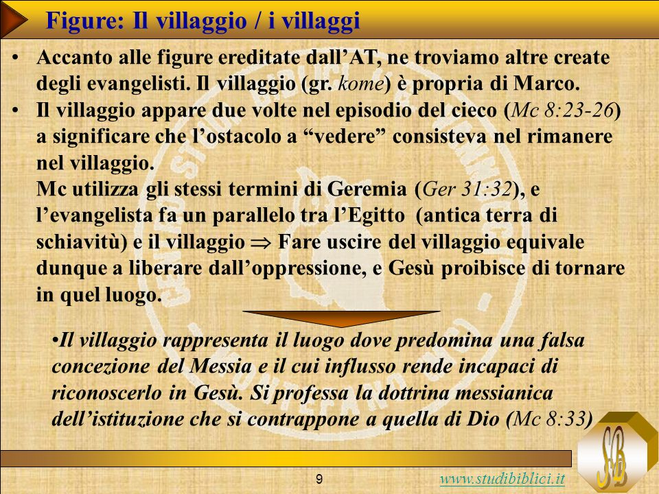 www.studibiblici.it 9 Figure: Il villaggio / i villaggi Accanto alle figure ereditate dallAT, ne troviamo altre create degli evangelisti. Il villaggio