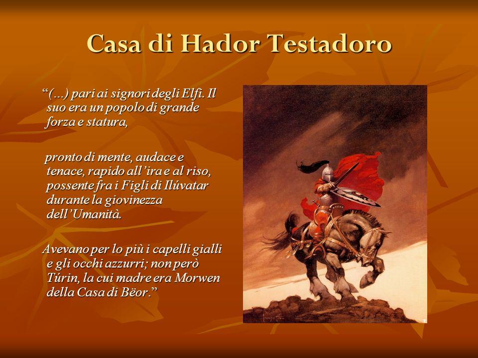 Casa di Hador Testadoro (…) pari ai signori degli Elfi. Il suo era un popolo di grande forza e statura, (…) pari ai signori degli Elfi. Il suo era un