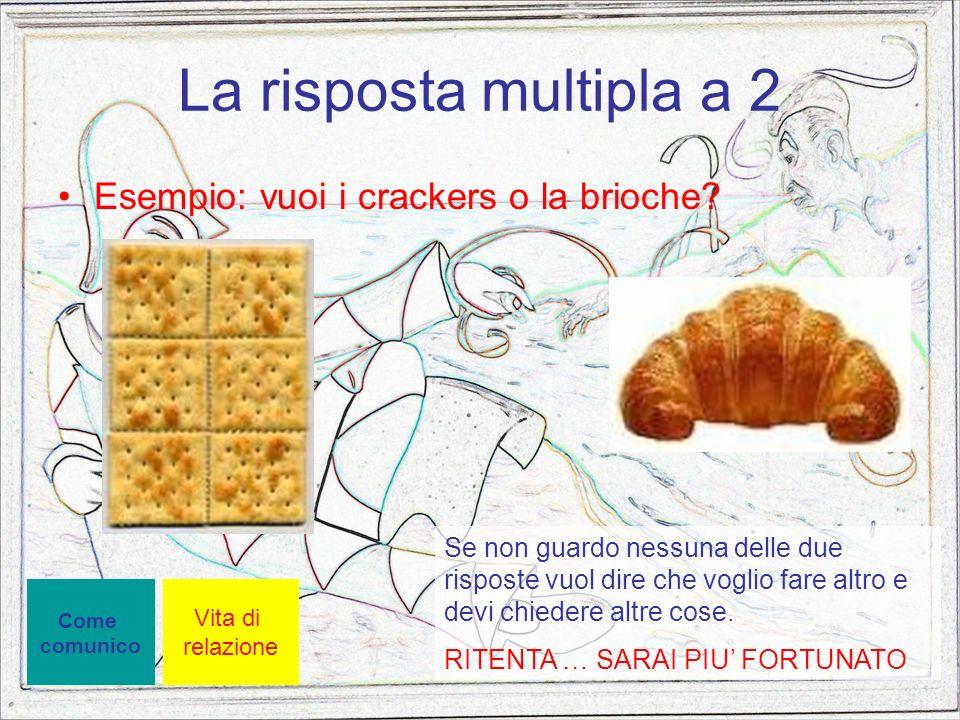 La risposta multipla a 2 Esempio: vuoi i crackers o la brioche? Vita di relazione Se non guardo nessuna delle due risposte vuol dire che voglio fare a