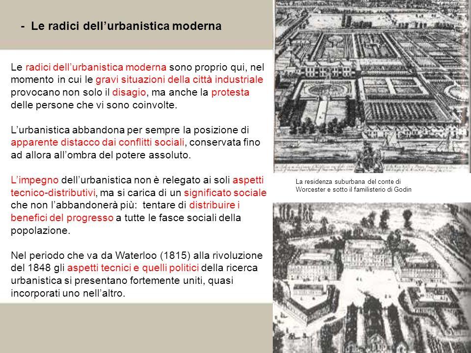 11 - Le radici dellurbanistica moderna Le radici dellurbanistica moderna sono proprio qui, nel momento in cui le gravi situazioni della città industri