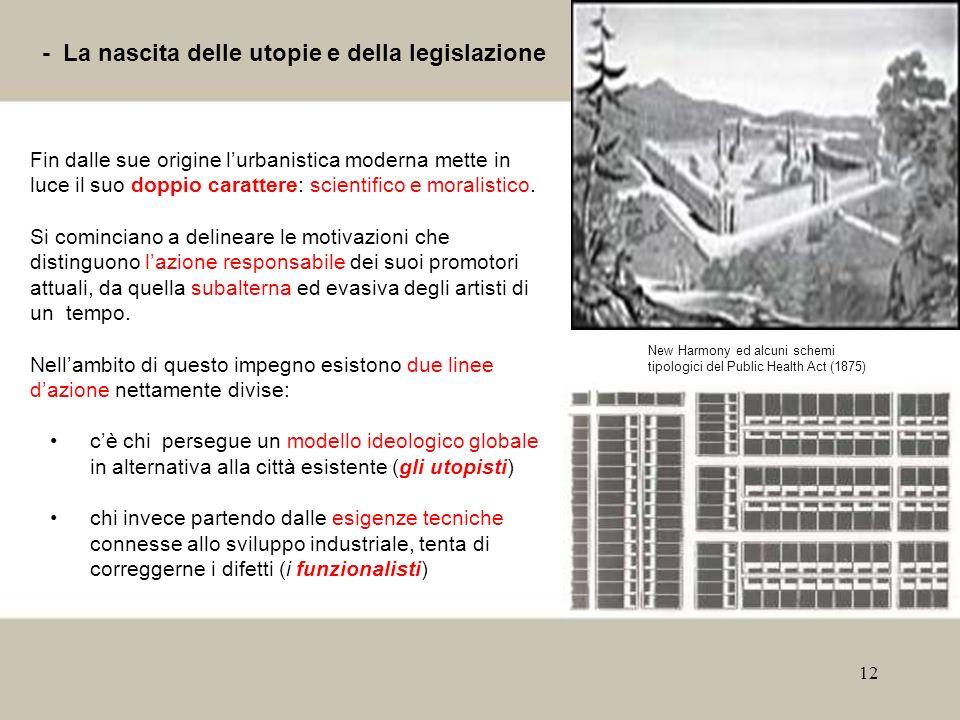 12 - La nascita delle utopie e della legislazione Fin dalle sue origine lurbanistica moderna mette in luce il suo doppio carattere: scientifico e mora