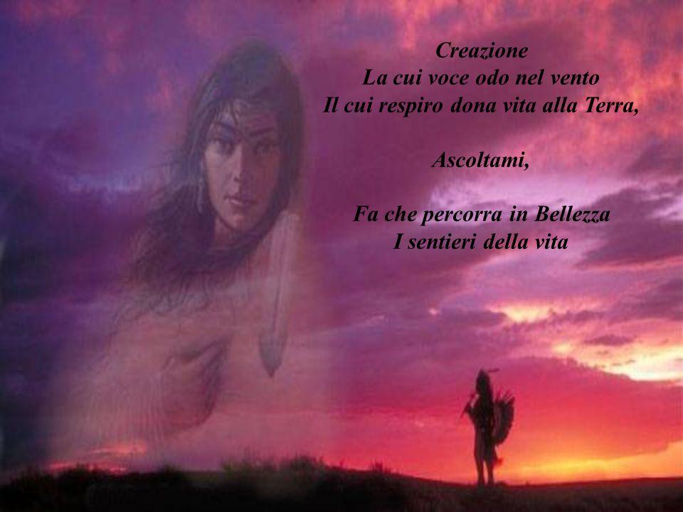Creazione La cui voce odo nel vento Il cui respiro dona vita alla Terra, Ascoltami, Fa che percorra in Bellezza I sentieri della vita