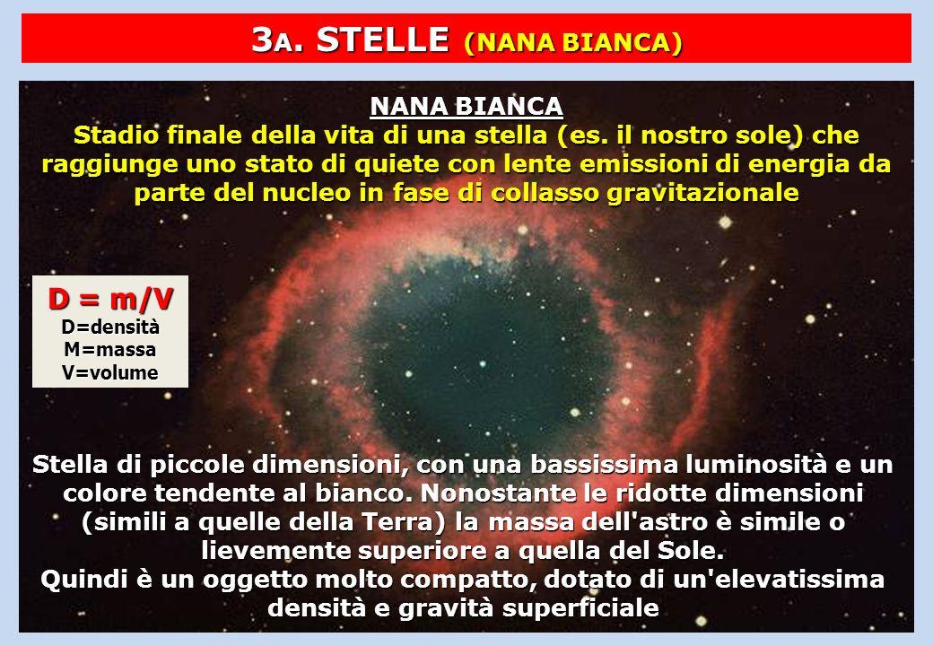 3 A. STELLE (NANA BIANCA) NANA BIANCA Stadio finale della vita di una stella (es. il nostro sole) che raggiunge uno stato di quiete con lente emission