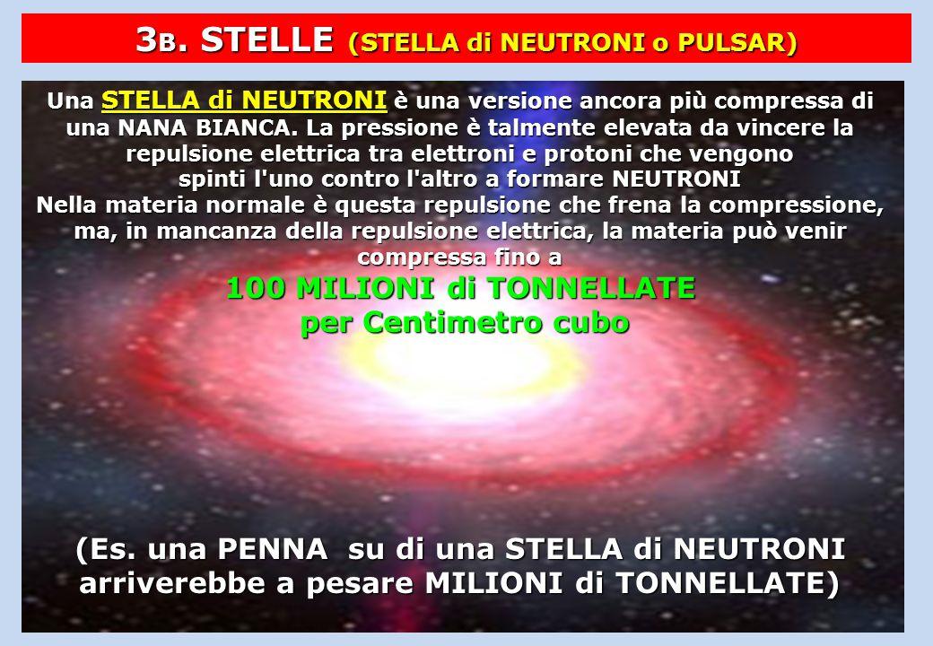 3 B. STELLE (STELLA di NEUTRONI o PULSAR) Una STELLA di NEUTRONI è una versione ancora più compressa di una NANA BIANCA. La pressione è talmente eleva