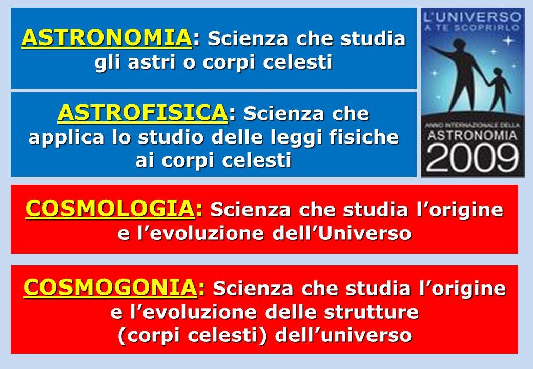 COSMOLOGIA: Scienza che studia lorigine e levoluzione dellUniverso COSMOGONIA: Scienza che studia lorigine e levoluzione delle strutture (corpi celest