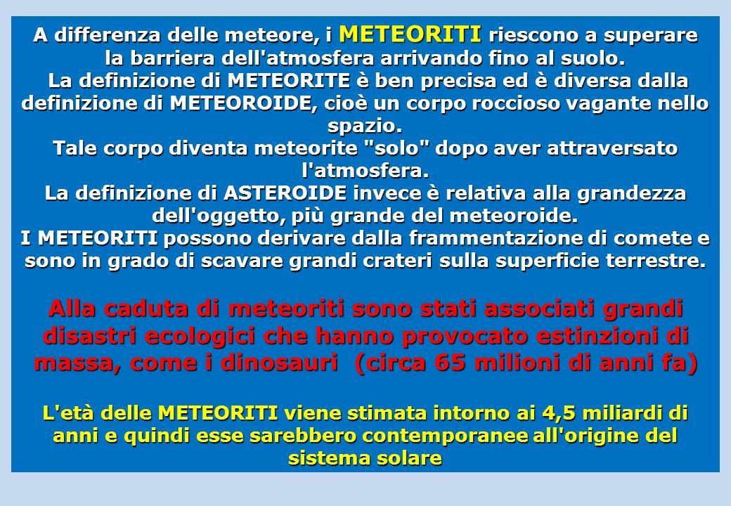 A differenza delle meteore, i METEORITI riescono a superare la barriera dell'atmosfera arrivando fino al suolo. La definizione di METEORITE è ben prec