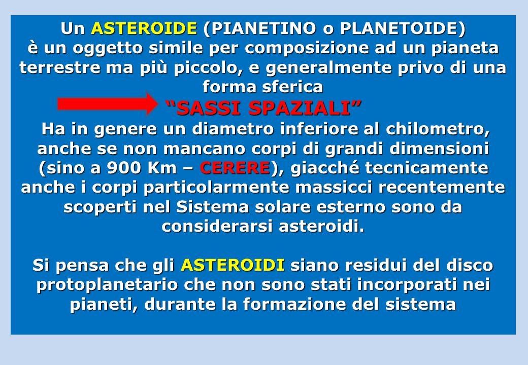 Un ASTEROIDE (PIANETINO o PLANETOIDE) è un oggetto simile per composizione ad un pianeta terrestre ma più piccolo, e generalmente privo di una forma s