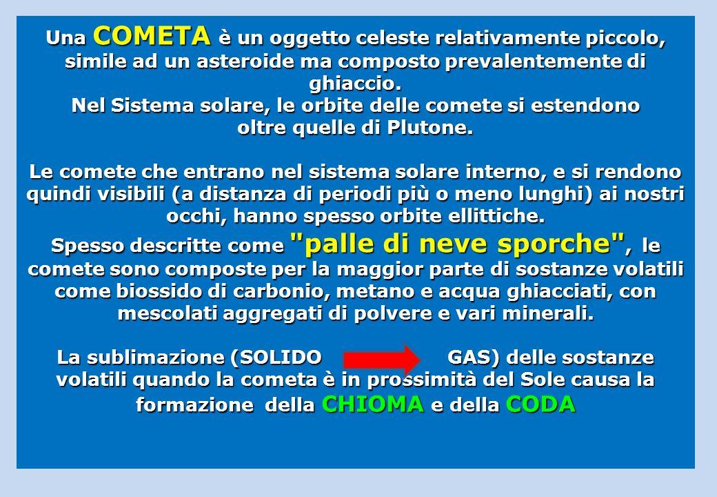 Una COMETA è un oggetto celeste relativamente piccolo, simile ad un asteroide ma composto prevalentemente di ghiaccio. Nel Sistema solare, le orbite d