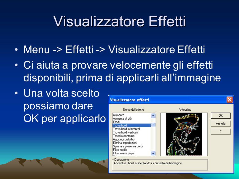 Visualizzatore Effetti Menu -> Effetti -> Visualizzatore Effetti Ci aiuta a provare velocemente gli effetti disponibili, prima di applicarli allimmagine Una volta scelto possiamo dare OK per applicarlo