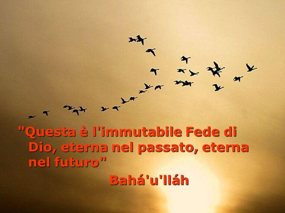 Questa è l immutabile Fede di Dio, eterna nel passato, eterna nel futuro Bahá u lláh Bahá u lláh