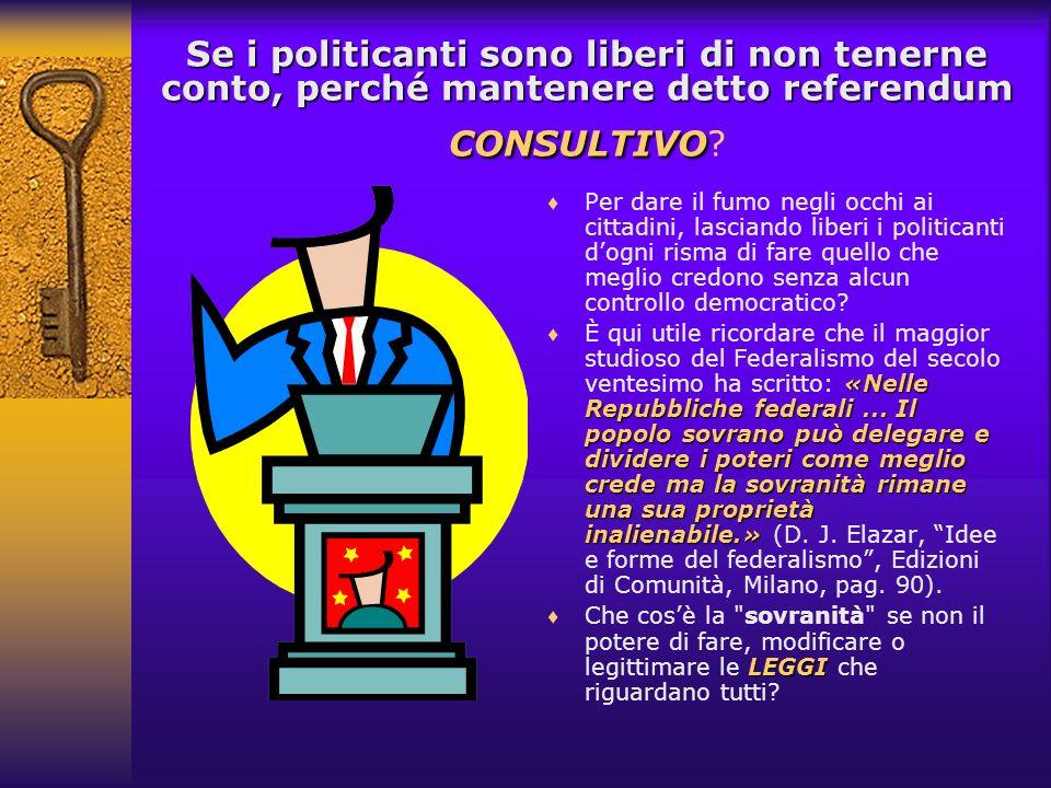 consultivi A seguito della prima Legge (142/1990) in tutti gli Statuti comunali e provinciali sono stati introdotti i referendum consultivi su materie