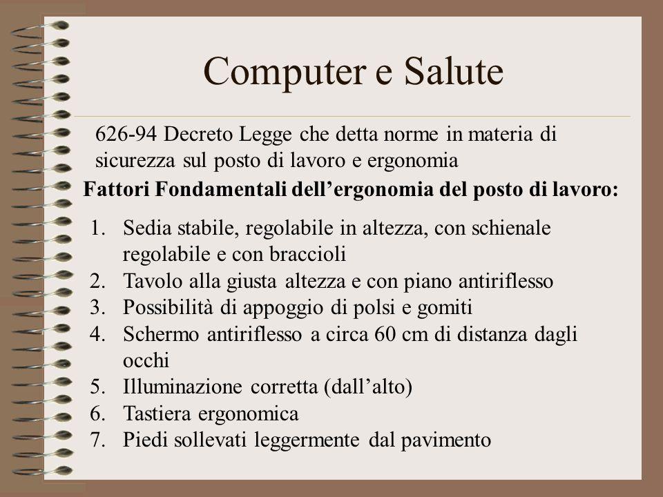 Computer e Salute 626-94 Decreto Legge che detta norme in materia di sicurezza sul posto di lavoro e ergonomia Fattori Fondamentali dellergonomia del