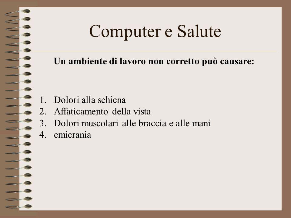 Computer e Salute Un ambiente di lavoro non corretto può causare: 1.Dolori alla schiena 2.Affaticamento della vista 3.Dolori muscolari alle braccia e