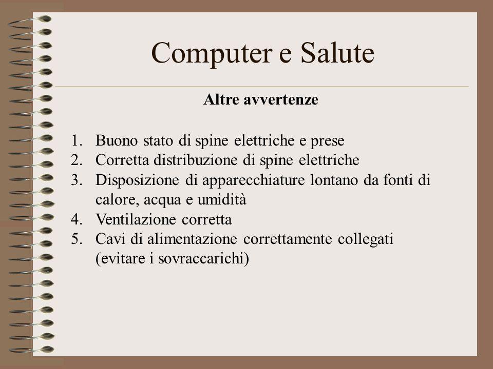 Computer e Salute Altre avvertenze 1.Buono stato di spine elettriche e prese 2.Corretta distribuzione di spine elettriche 3.Disposizione di apparecchi