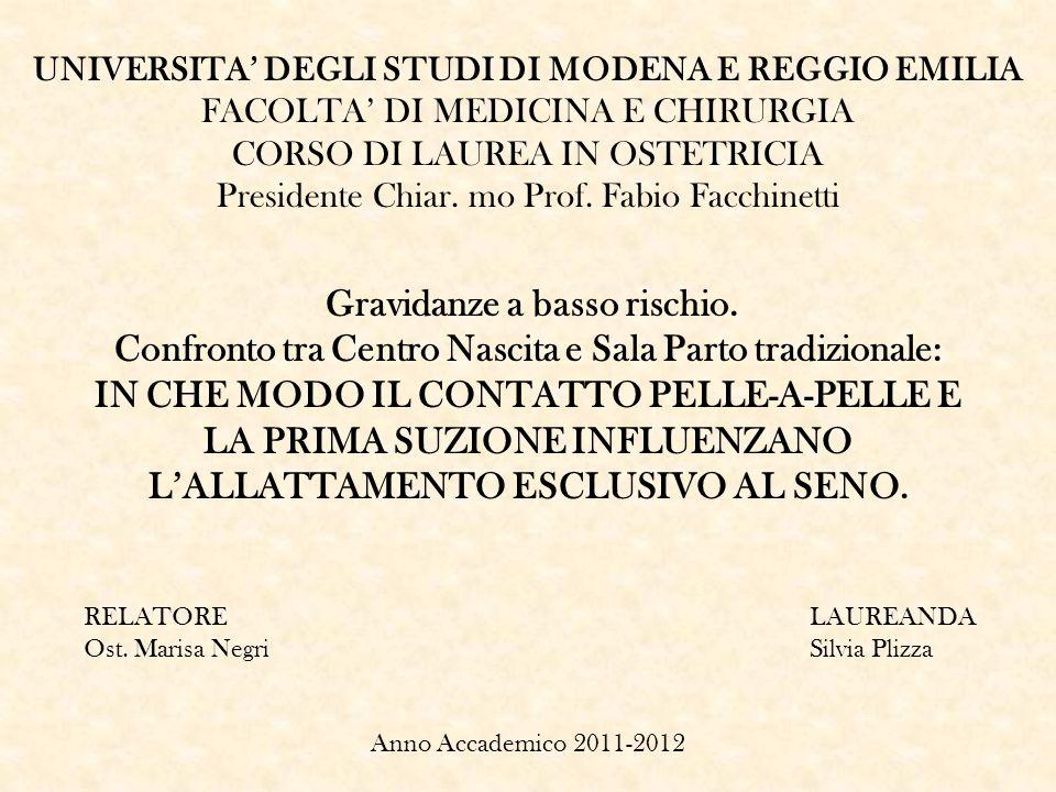UNIVERSITA DEGLI STUDI DI MODENA E REGGIO EMILIA FACOLTA DI MEDICINA E CHIRURGIA CORSO DI LAUREA IN OSTETRICIA Presidente Chiar. mo Prof. Fabio Facchi