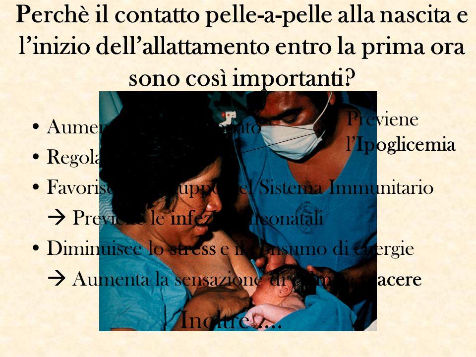 Perchè il contatto pelle-a-pelle alla nascita e linizio dellallattamento entro la prima ora sono così importanti? Aumenta TC del neonato Regola la FC,