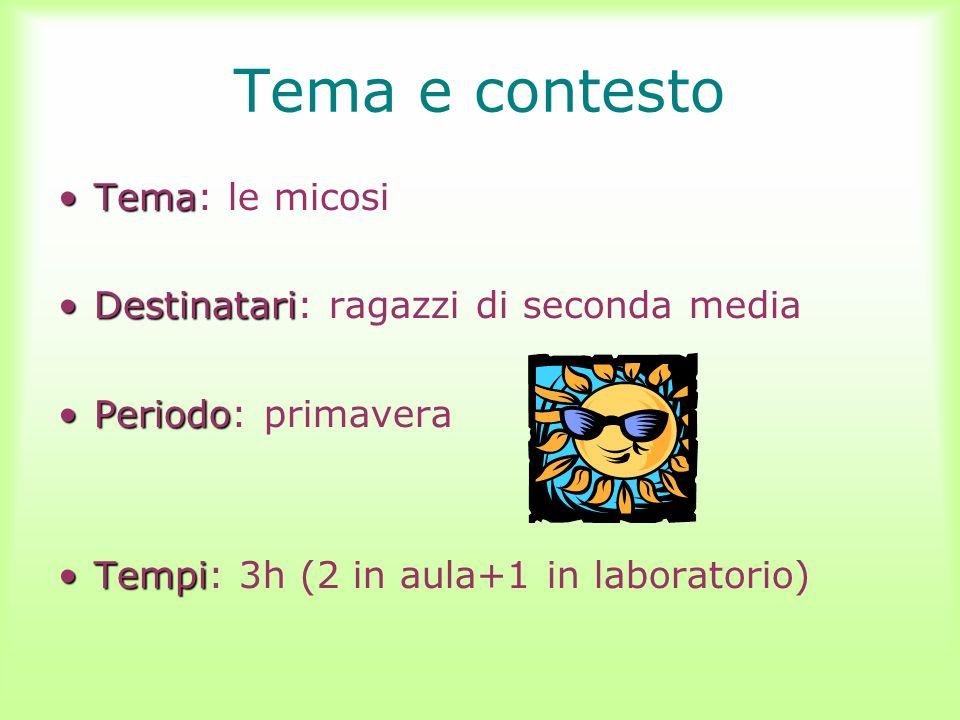 Tema e contesto TemaTema: le micosi DestinatariDestinatari: ragazzi di seconda media PeriodoPeriodo: primavera TempiTempi: 3h (2 in aula+1 in laborato