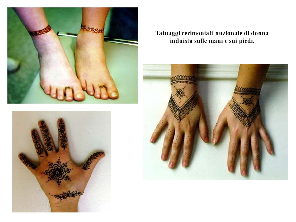 Tatuaggio di stile indonesiano. Mano di donna marocchina. Gamba e piede di donna induista.