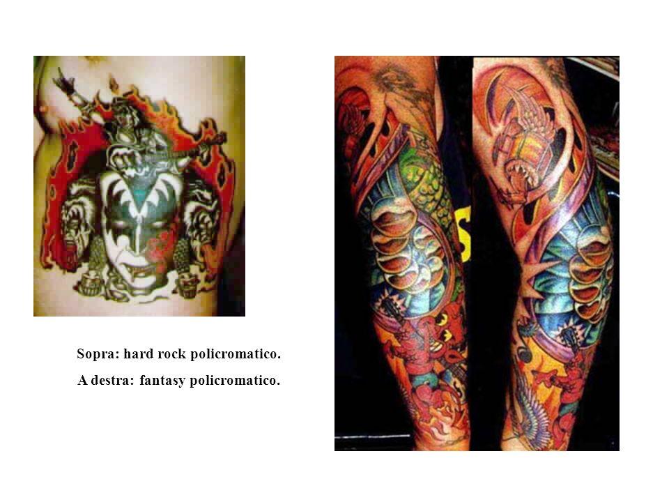 Tatuaggi odierni Sopra: intreccio a greca di due puma. A destra: figure femminili con fiori.