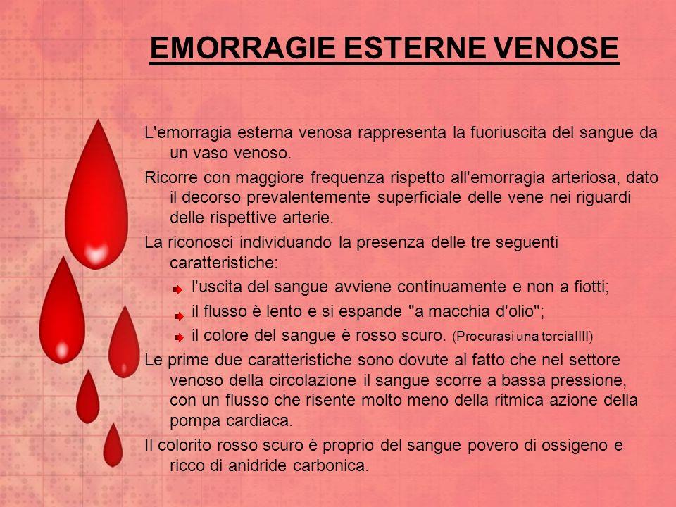 EMORRAGIE ESTERNE VENOSE L'emorragia esterna venosa rappresenta la fuoriuscita del sangue da un vaso venoso. Ricorre con maggiore frequenza rispetto a
