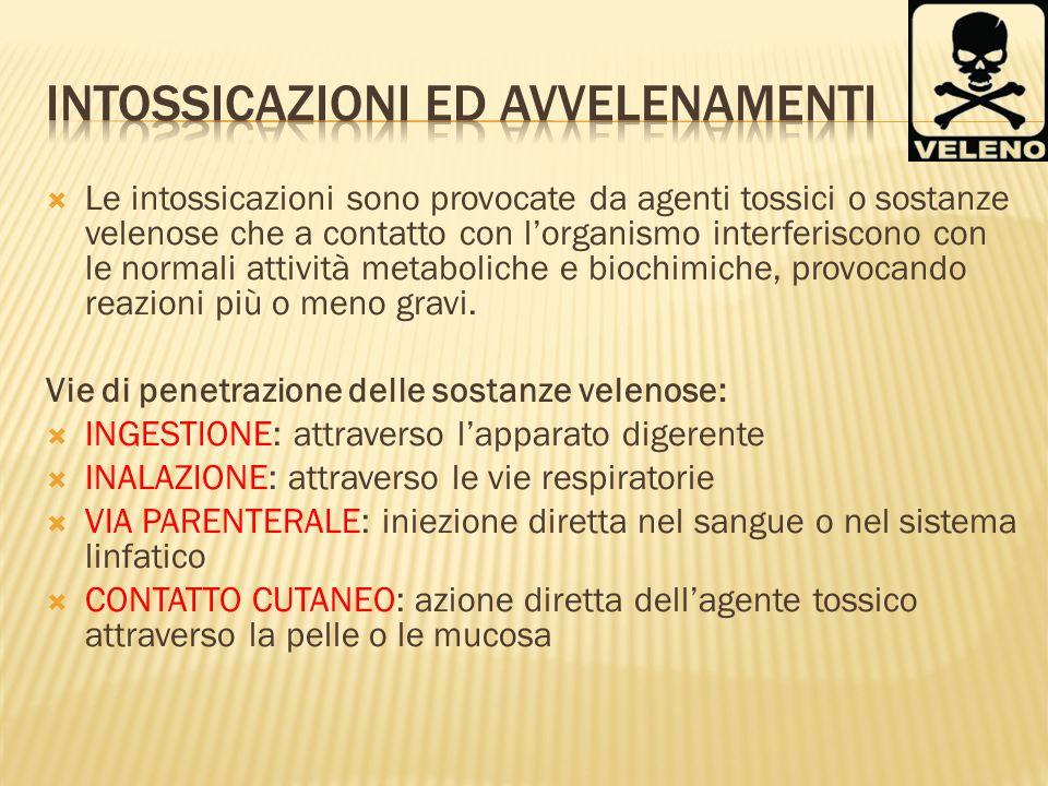 Le intossicazioni sono provocate da agenti tossici o sostanze velenose che a contatto con lorganismo interferiscono con le normali attività metabolich