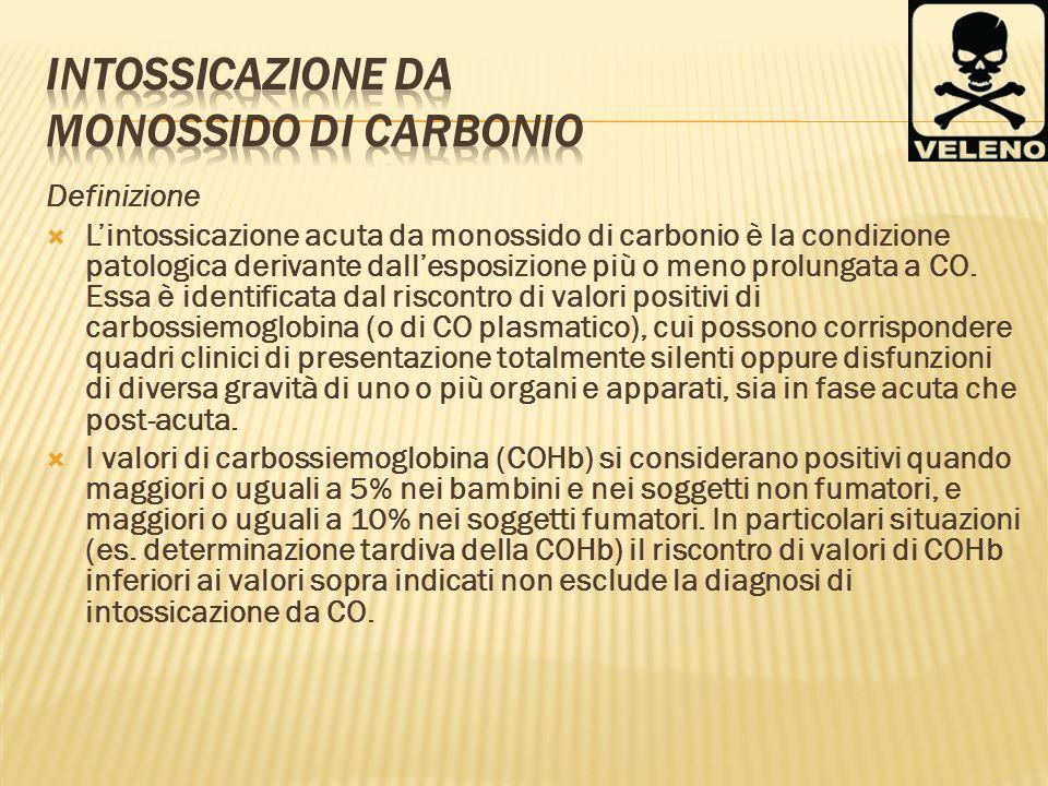 Definizione Lintossicazione acuta da monossido di carbonio è la condizione patologica derivante dallesposizione più o meno prolungata a CO. Essa è ide