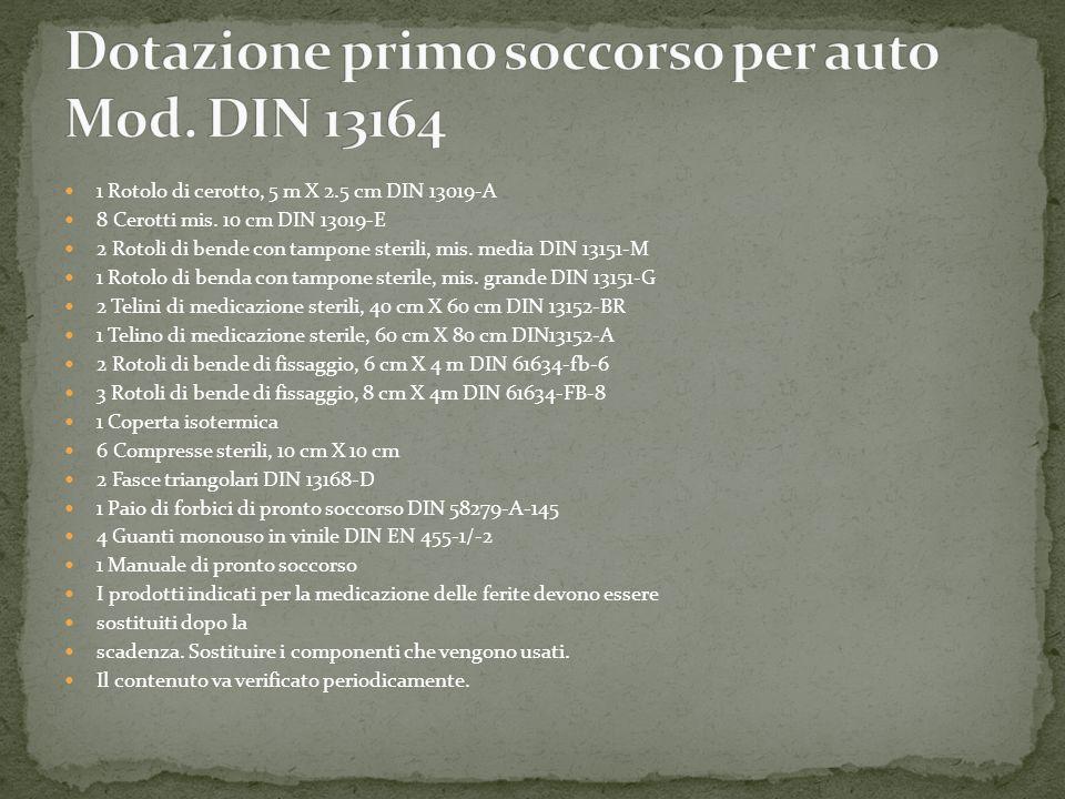 1 Rotolo di cerotto, 5 m X 2.5 cm DIN 13019-A 8 Cerotti mis. 10 cm DIN 13019-E 2 Rotoli di bende con tampone sterili, mis. media DIN 13151-M 1 Rotolo