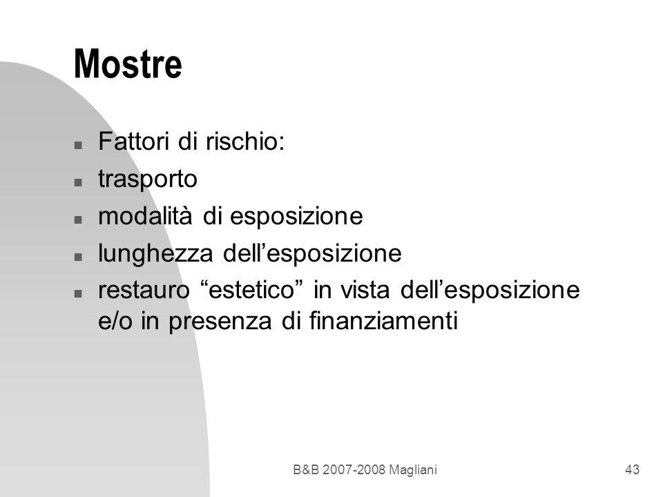 B&B 2007-2008 Magliani43 Mostre n Fattori di rischio: n trasporto n modalità di esposizione n lunghezza dellesposizione n restauro estetico in vista d