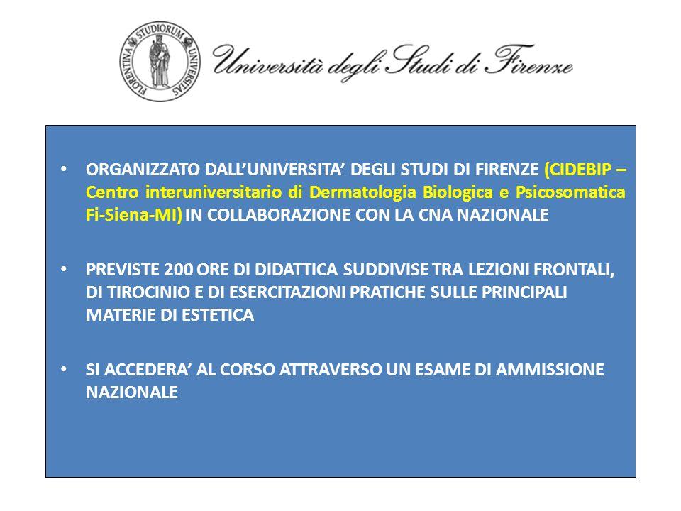 ORGANIZZATO DALLUNIVERSITA DEGLI STUDI DI FIRENZE (CIDEBIP – Centro interuniversitario di Dermatologia Biologica e Psicosomatica Fi-Siena-MI) IN COLLA