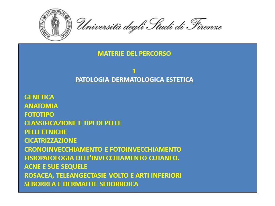 MATERIE DEL PERCORSO 1 PATOLOGIA DERMATOLOGICA ESTETICA GENETICA ANATOMIA FOTOTIPO CLASSIFICAZIONE E TIPI DI PELLE PELLI ETNICHE CICATRIZZAZIONE CRONO