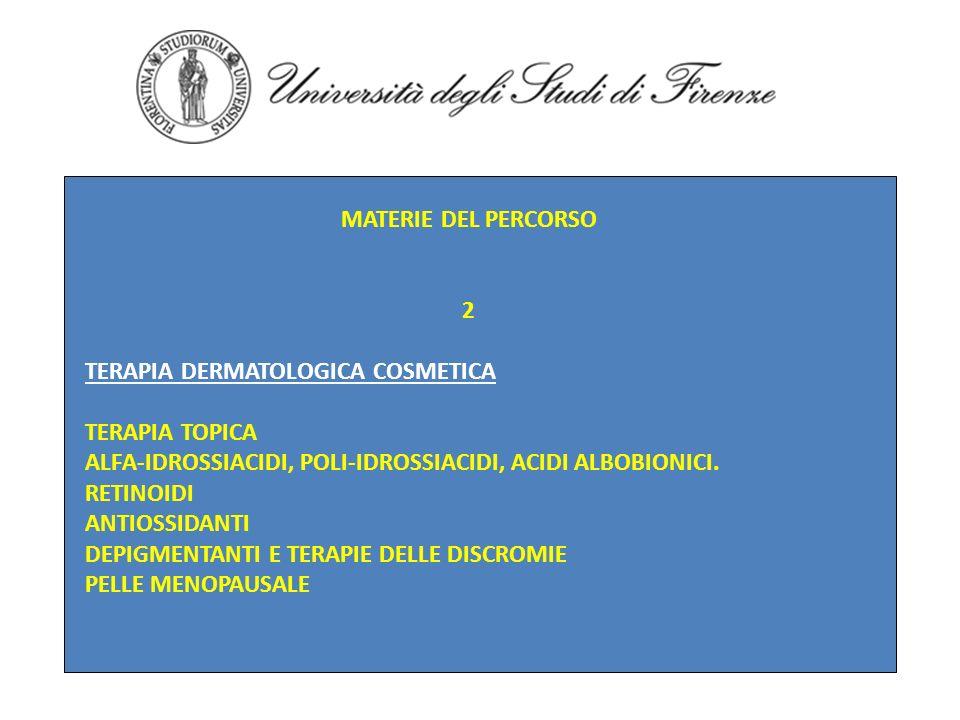 MATERIE DEL PERCORSO 2 TERAPIA DERMATOLOGICA COSMETICA TERAPIA TOPICA ALFA-IDROSSIACIDI, POLI-IDROSSIACIDI, ACIDI ALBOBIONICI. RETINOIDI ANTIOSSIDANTI