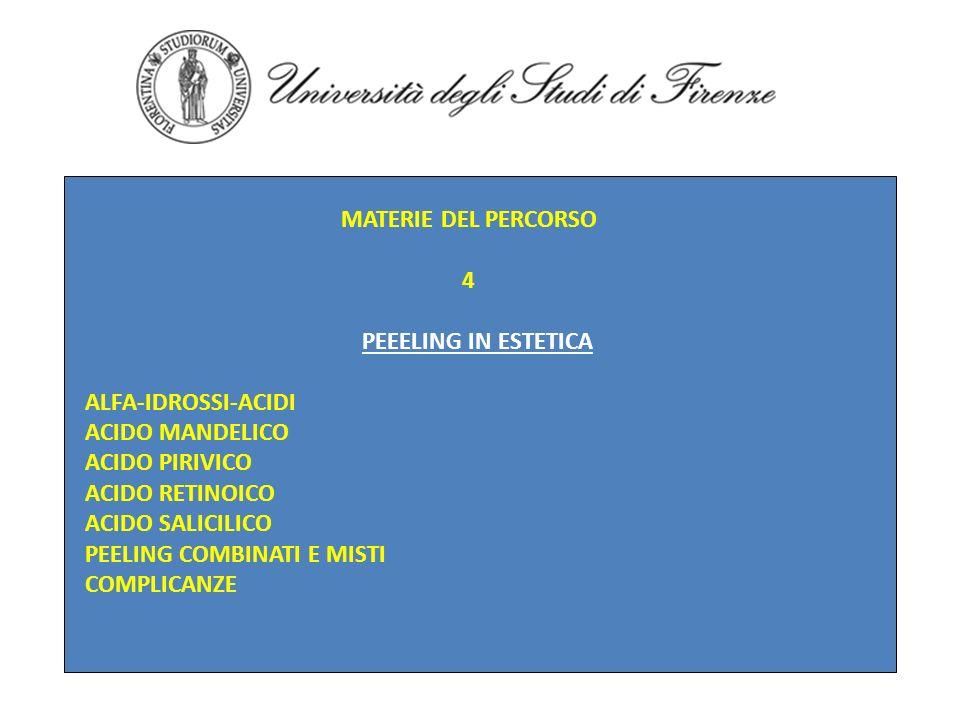 MATERIE DEL PERCORSO 4 PEEELING IN ESTETICA ALFA-IDROSSI-ACIDI ACIDO MANDELICO ACIDO PIRIVICO ACIDO RETINOICO ACIDO SALICILICO PEELING COMBINATI E MIS