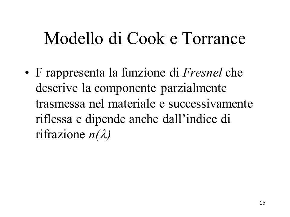 15 Modello di Cook e Torrance La riflettività diffusiva d viene considerata puramente lambertiana La riflettività speculare è approssimata con la form